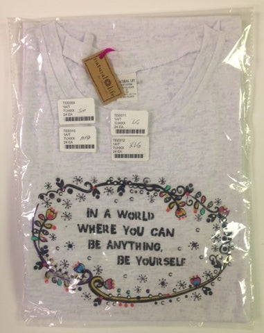#TEE011 - LG.T-SHIRT WHITE-BE YOURSELF  -  24/CASE
