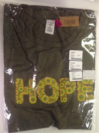 #TEE097 - SML.APPLIQUE T-SHIRT - HOPE  -  24/CASE