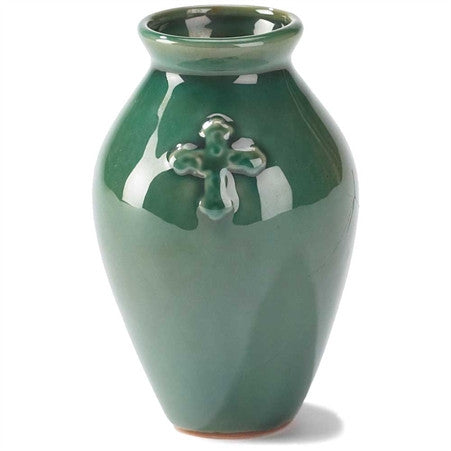 "#VAS-107 - 4.25""GRN STNWR VASE W/ CROSS  -  32/CASE"