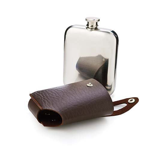 Admiral stainless steel flask and traveling case gift.