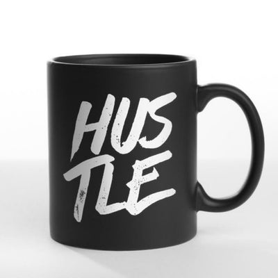 Black 'Hustle' mug with Portland, Water Avenue Coffee Gift.
