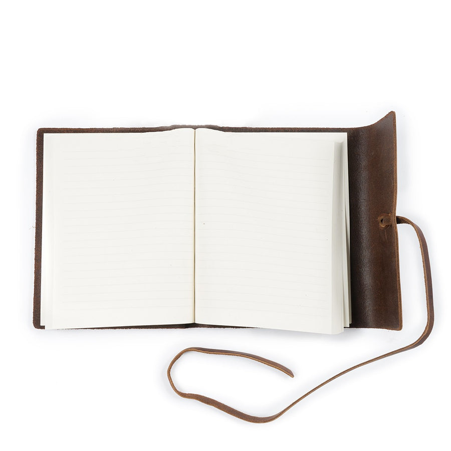 Writer's Log Leather Journal Large, Lined paper in Dark Brown
