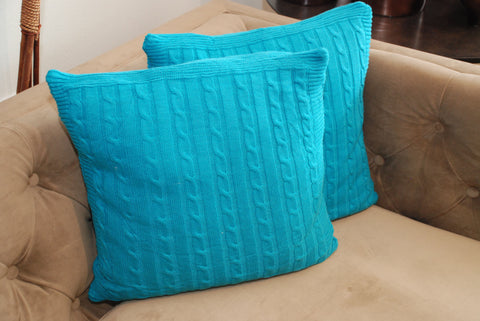Turquoise Knit Pillow