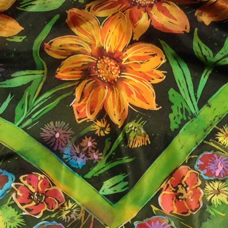 "Layers of Batik wax and dye on silk - from Rosi Robinson's workshop ""Batik Workshop: Fun with Fabric and Paper"""
