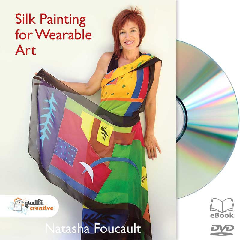 Silk Painting, Natasha Foucault, hand-painted, DIY Silk Painting, Gutta Resist, Gutta Serti Technique, Silk Dyes, Wearable Silk Art, Silk Poncho, Silk Scarf, Silk Kimono, hand-painted, Silk Cape, DIY Wearable Silk, DVD, Educational Video