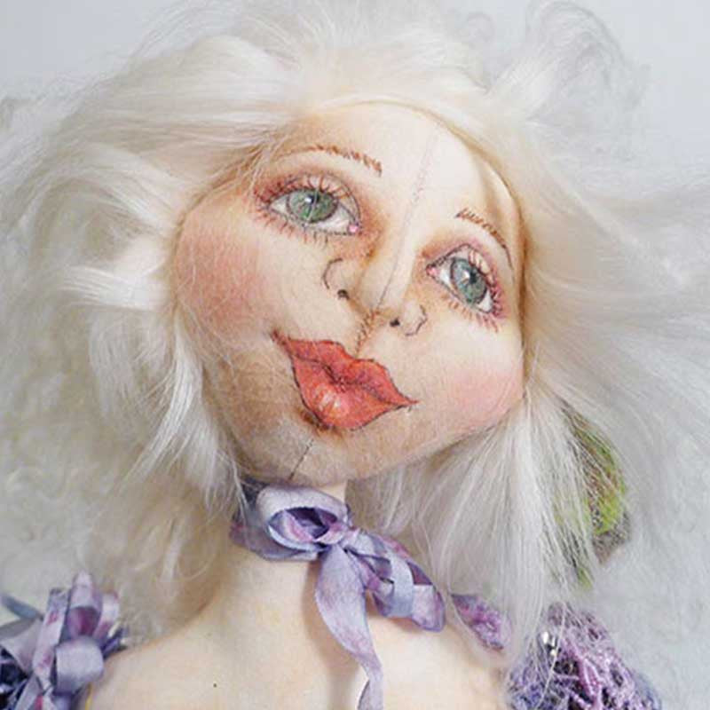 "Project doll with painted face - step-by-step - from the Online Workshop ""Cloth Doll Making"""