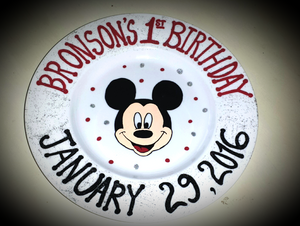 Hand Painted Keepsake Mickey Baby Child Birthday Plate