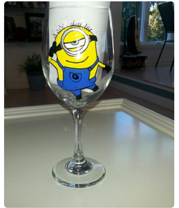 Despicable Me movie minions hand painted wine glass