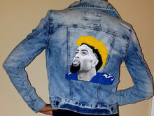 Custom Hand Painted Limited Edition ODELL BECKHAM 3D life like wearable art jean jacket