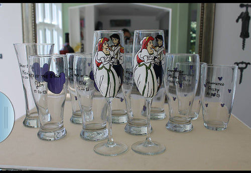 Bridal party bride and groom wedding champagne flutes Disney Ariel