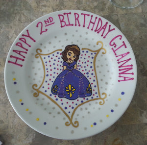 decorative personalized hand painted baby first keepsake birthday keepsake plate bowl Sophia the first disney