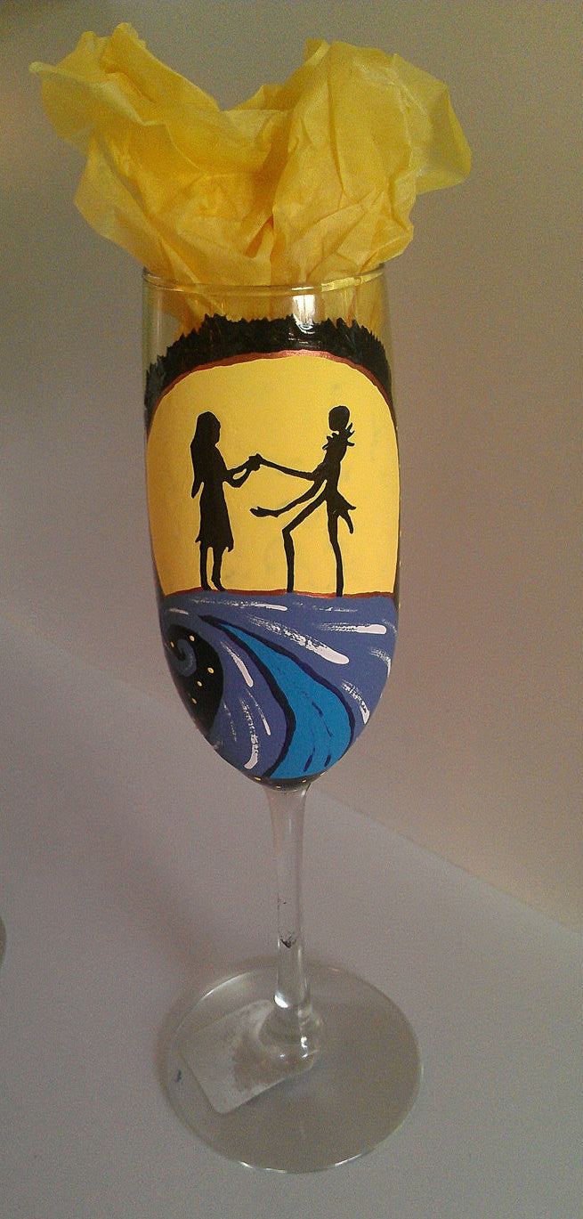 set of 2 tim burton nightmare before christmas wedding inspired flute champagne glasses