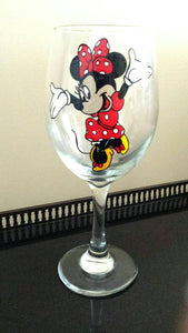 Decorative Disney inspired Mickey mouse minnie mouse hand painted wine glasses