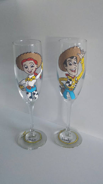 Toy story inspired jessie woody champagne flutes wedding toasting glasses set of 2