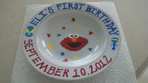 decorative personalized hand painted baby first keepsake birthday keepsake plate bowl elmo