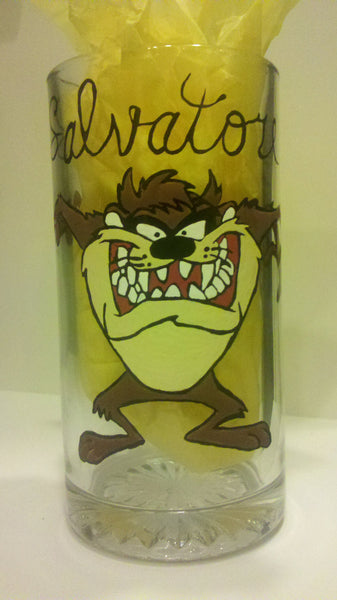 decorative hand painted custom made to order personalized fathers day Tazmanian Devil inspired  wine glass mug tumbler cups wedding