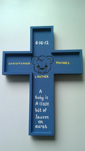 baby boy girl keepsake hanging cross kids children baptism christening birthday teddy bear elmo wood memory sesame street treasure