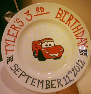 hand painted baby first birthday childs kids keepsake cars movie disney pixar race flag porcelain ceramic glass plate bowl favor