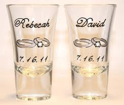 set of 2 shot glass custom hand painted wedding gift engagement ring proposal