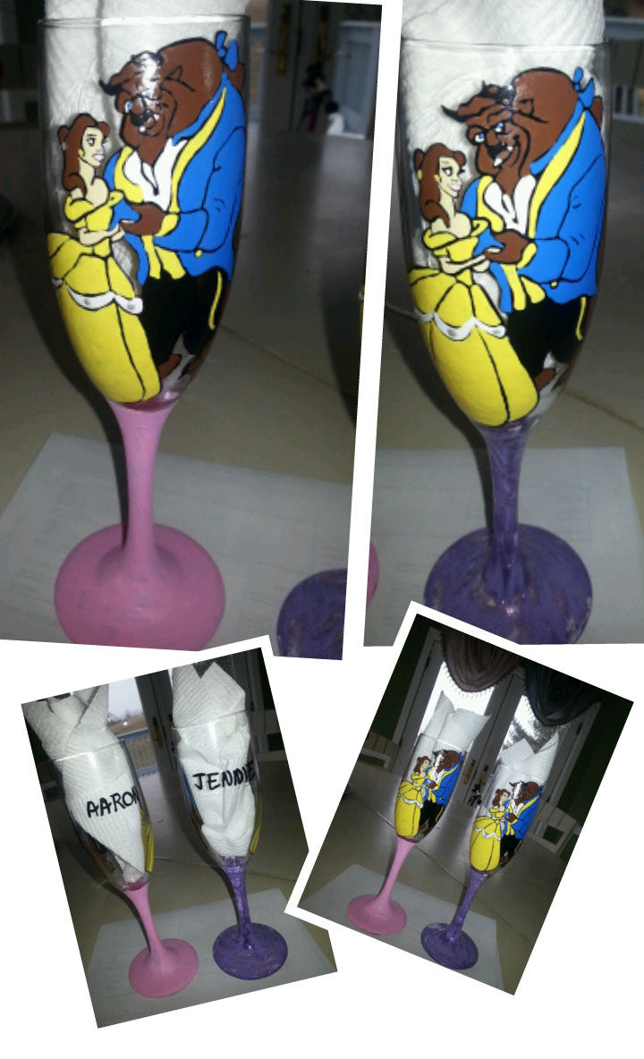 custom set of 2 champagne flute wine toasting glasses beauty and the beast inspired bride groom wedding toasting glasses hand painted wine
