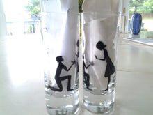 set of 2 shot glass custom hand painted weddings valentines day engagement gift