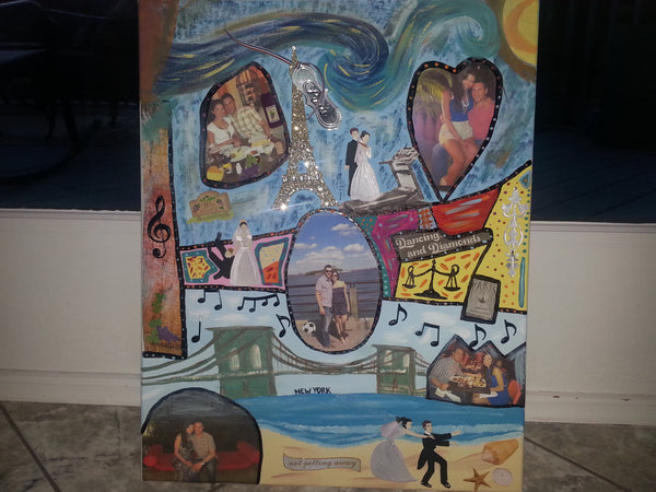 wedding personalized collage canvas hand painted custom made to order family sweet sixteen favor wine glass mug tumbler cups mothers day