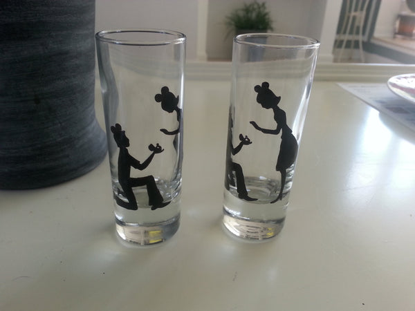 set of 2 shot glass custom hand painted disney mickey ears weddings valentines day engagement gift
