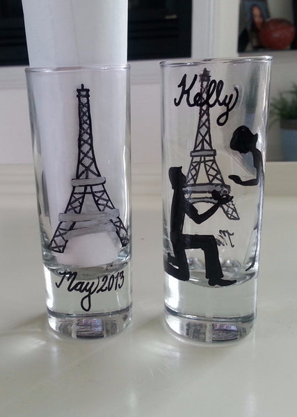set of 2 shot glass custom hand painted weddings valentines day engagement gift Paris engagement proposal