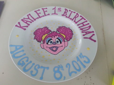decorative personalized hand painted baby first keepsake birthday keepsake plate bowl abby cadabby sesame street inspired