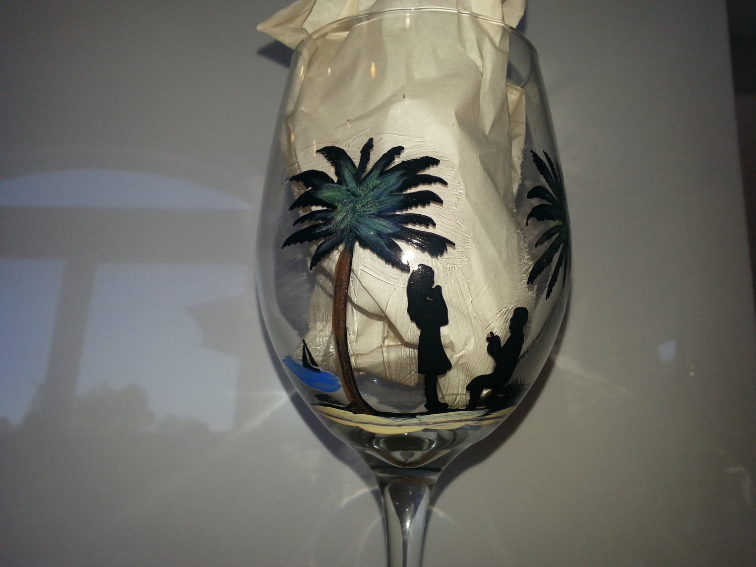 Wine Glass Custom Hand Painted Beach Weddings Valentines Day