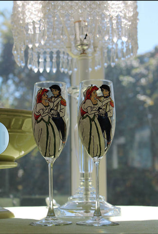 custom set of 2 champagne flute wine toasting glasses ariel and prince eric disney inspired bride wedding toasting glasses hand painted