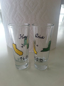set of 2 shot glass custom hand painted weddings valentines day engagement gift state love