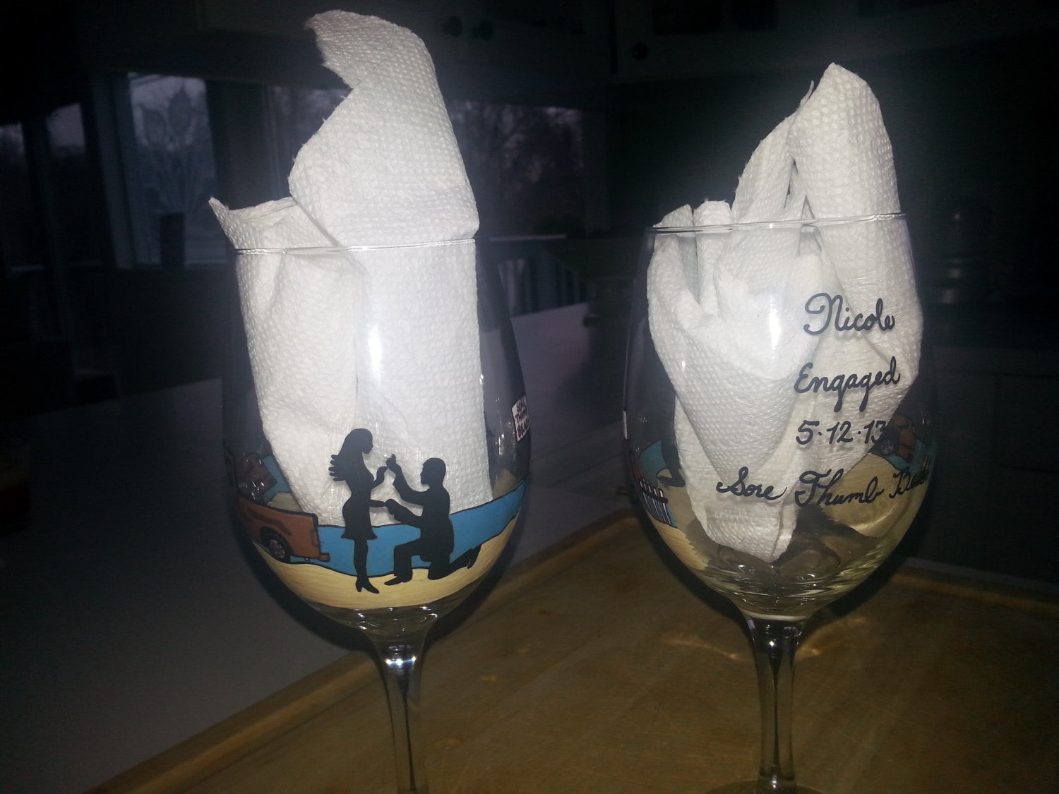 Wine Glass Custom Hand Painted Weddings Valentines Day Engagement