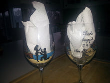 WINE glass custom hand painted weddings valentines day engagement gift