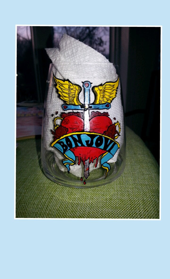 Bon Jovi full circle inspired  hand painted glass stemless wine glass