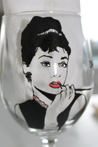 Audrey Hepburn hand painted glass breakfast at tiffanys