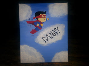 Children's canvas superman superwoman 8x10 painting kids room decor wall art clouds sky personalized custom