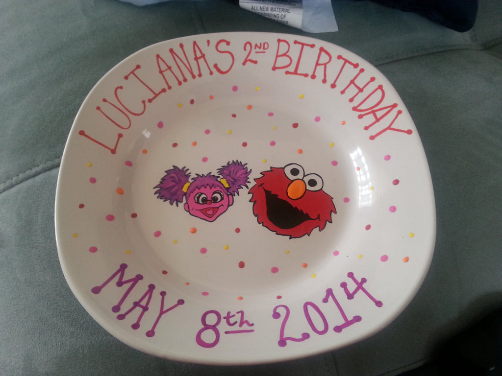 decorative personalized hand painted baby first inspired keepsake birthday keepsake plate bowl elmo abby cadabby sesame street