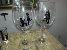 WINE glass  wedding engagement silhouette glasses