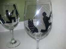 WINE glass custom hand painted dog with couple wedding engagement proposal gift