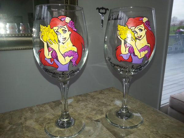 custom hand painted wine glasses ariel disney little mermaid inspired bride groom wedding toasting glasses