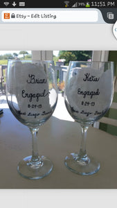 WINE glass custom hand painted beach weddings valentines day engagement gift sunset mountainside proposal