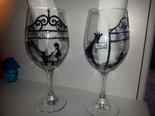 WINE glass custom hand painted weddings proposal bronx zoo theme valentines day engagement gift