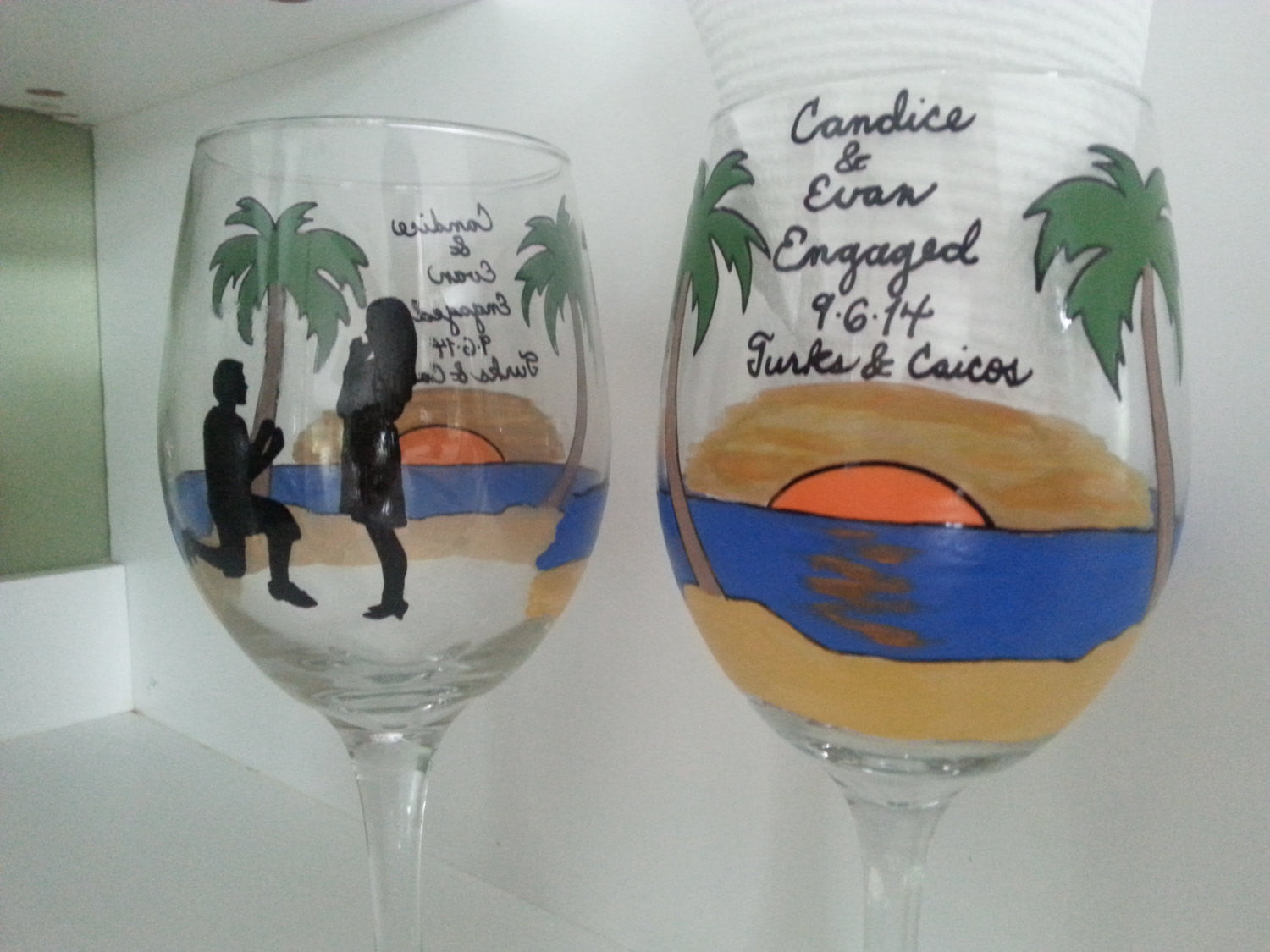Wine Glass Custom Hand Painted Sunset Engagement Proposal