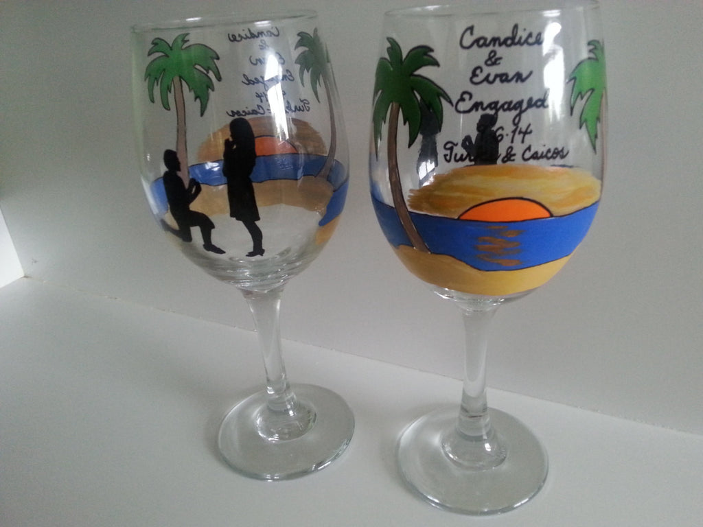 WINE glass custom hand painted sunset Engagement proposal Valentine's day wedding