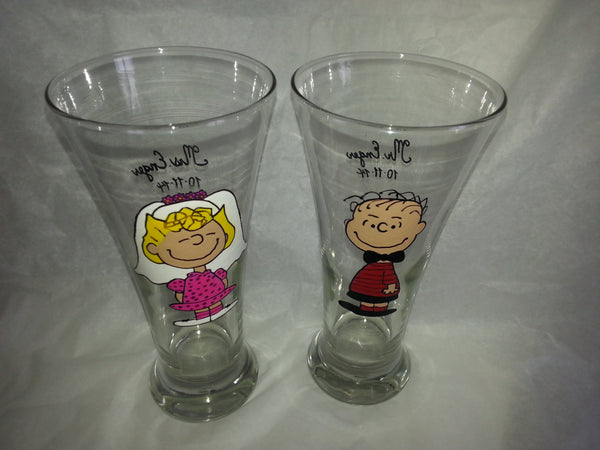 decorative set of 2 tumbler cups  glasses Linus & Sally