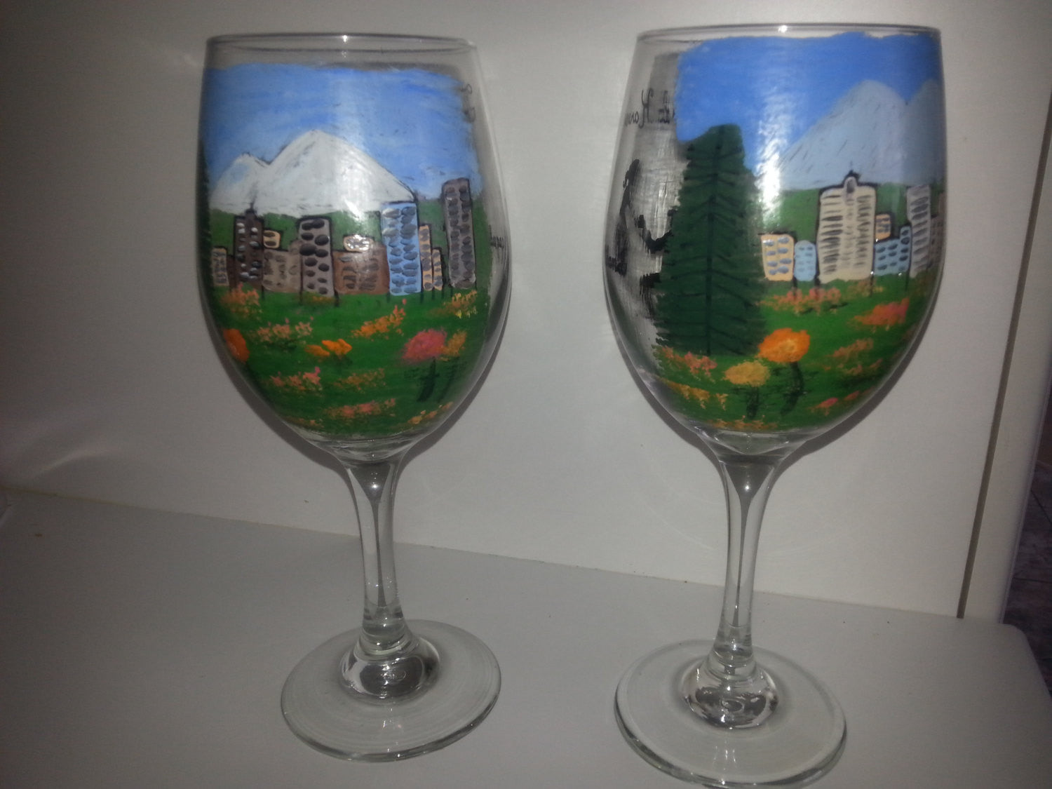 Wine Glass Hand Painted Same Sex Women Rose Garden Engagement