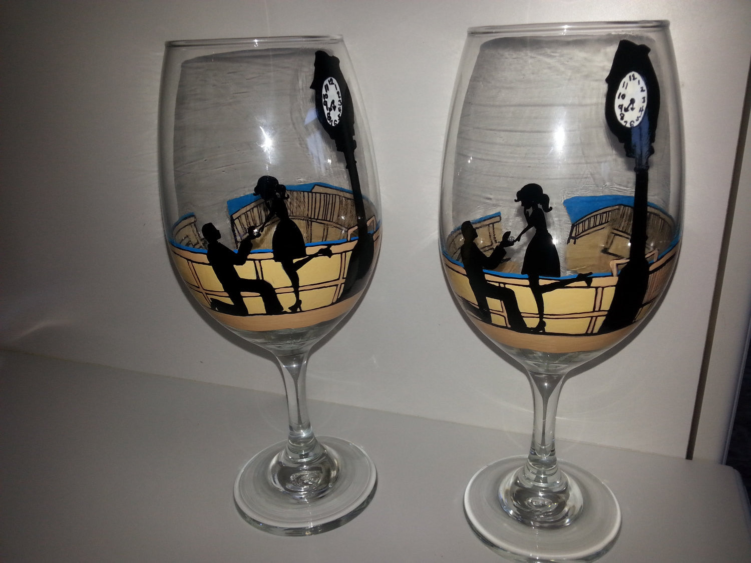 Wine Glass Custom Hand Painted Gift Engagement Proposal Valentine S