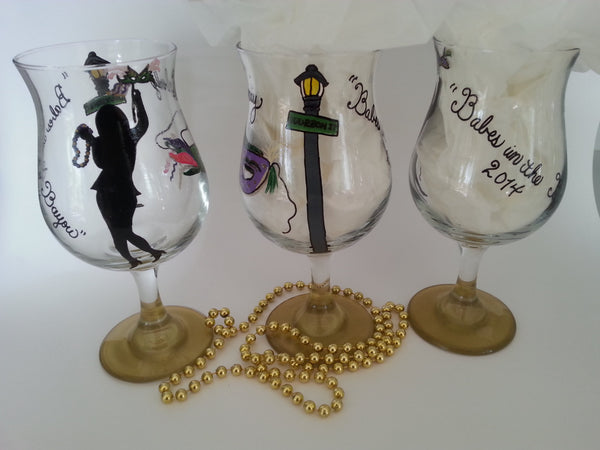 Mardi gras wine glass hand painted mask girls in bayou new orleans