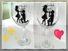 WINE glass custom hand painted  wedding engagement proposal gift